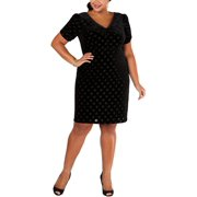 Betsey Johnson Womens Plus Velvet Polka Dot Sheath Dress