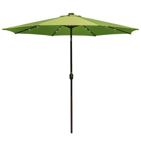Sundale Outdoor 10 ft Solar Powered 24 LED Lighted Patio Umbrella Table Market Umbrella with Crank and Push Button Tilt for Garden, Deck, Backyard, Pool, 8 Steel Ribs (Apple (Outdoor Patio Deck Garden Pool)