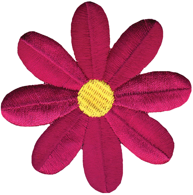 Wrights Iron-On Applique-Fuchsia Retro Flower