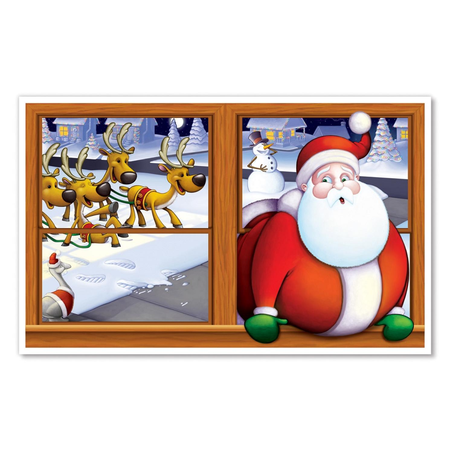"Pack of 6 Christmas Santa Claus Insta-View Holiday Wall Decoration 38"" x 62"""