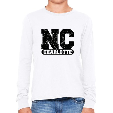 Charlotte, North Carolina NC Classic City State Sign Boy's Long Sleeve T-Shirt