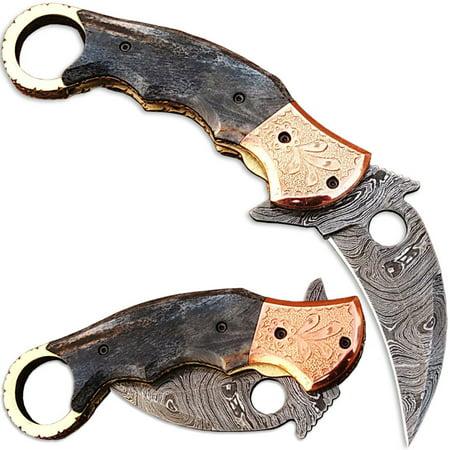 Ka-Rambo Damascus Folding Knife (Karambit) Giraffe Bone w
