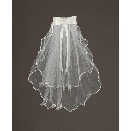 Angels Garment Girls White Elbow Length Floral Communion Flower Girl Veil - Communion Veil