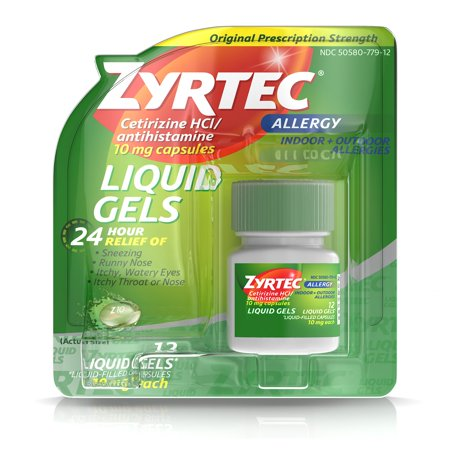 Zyrtec 24 Hour Indoor   Outdoor Allergy Medicine Liquid Gels With Cetirizine  12 Count