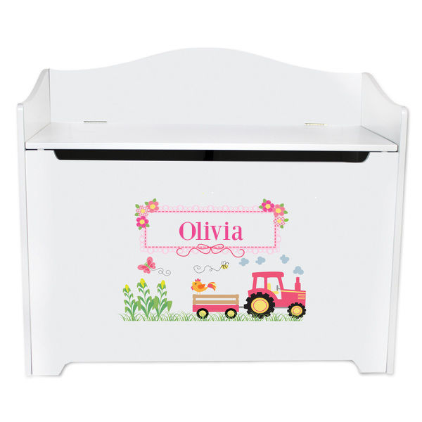 Personalized Toy Box Bench with Pink Tractor Design