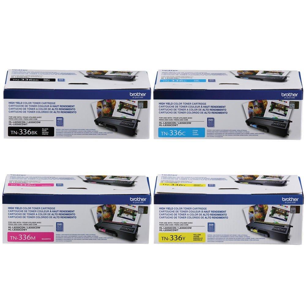 Brother TN336 Toner Cartridge -Brother TN336BK, TN336C, TN336M, TN336Y (Pack of 4)