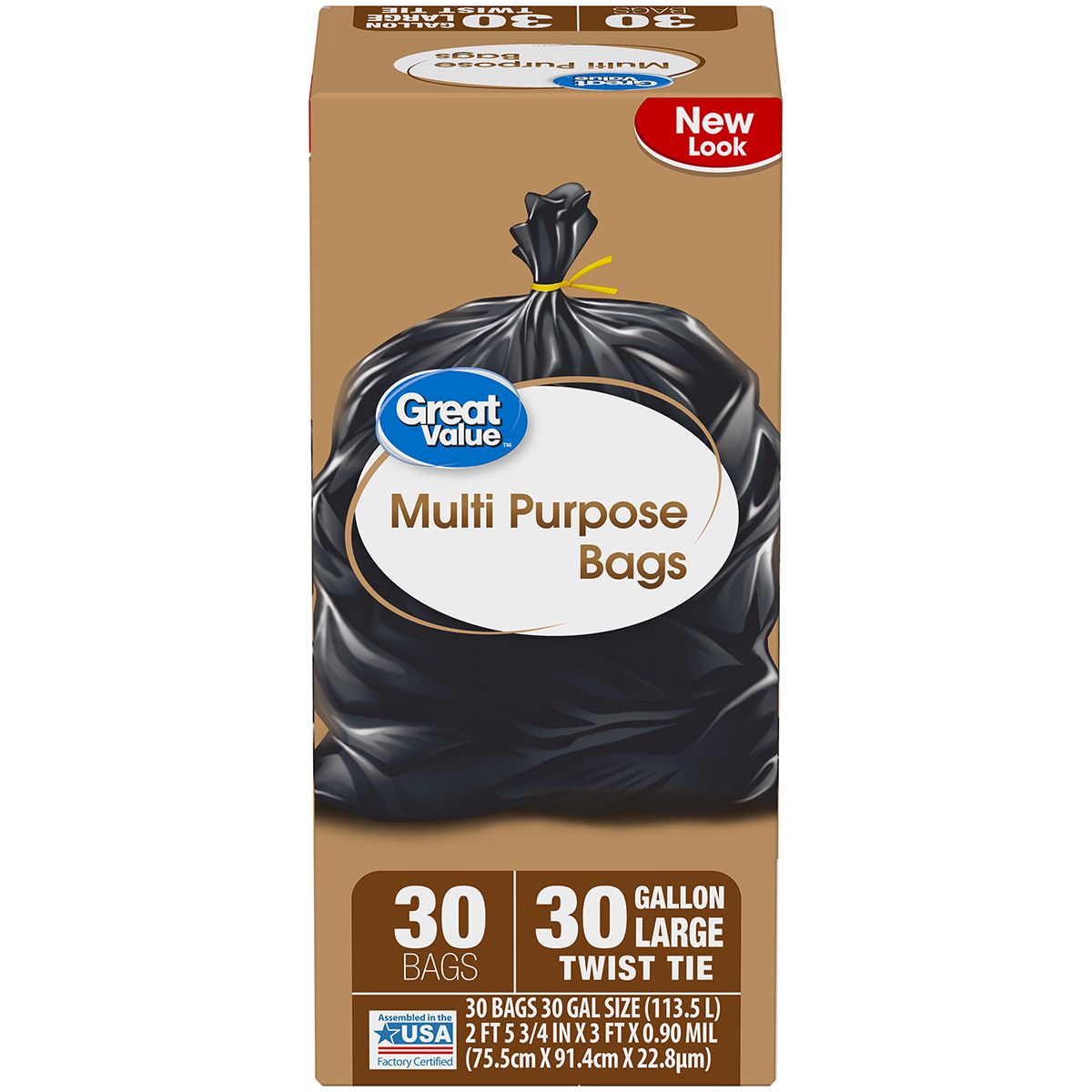 Great Value Large Multi-Purpose Twist Tie Trash Bags, 30 Gallon, 30 Count