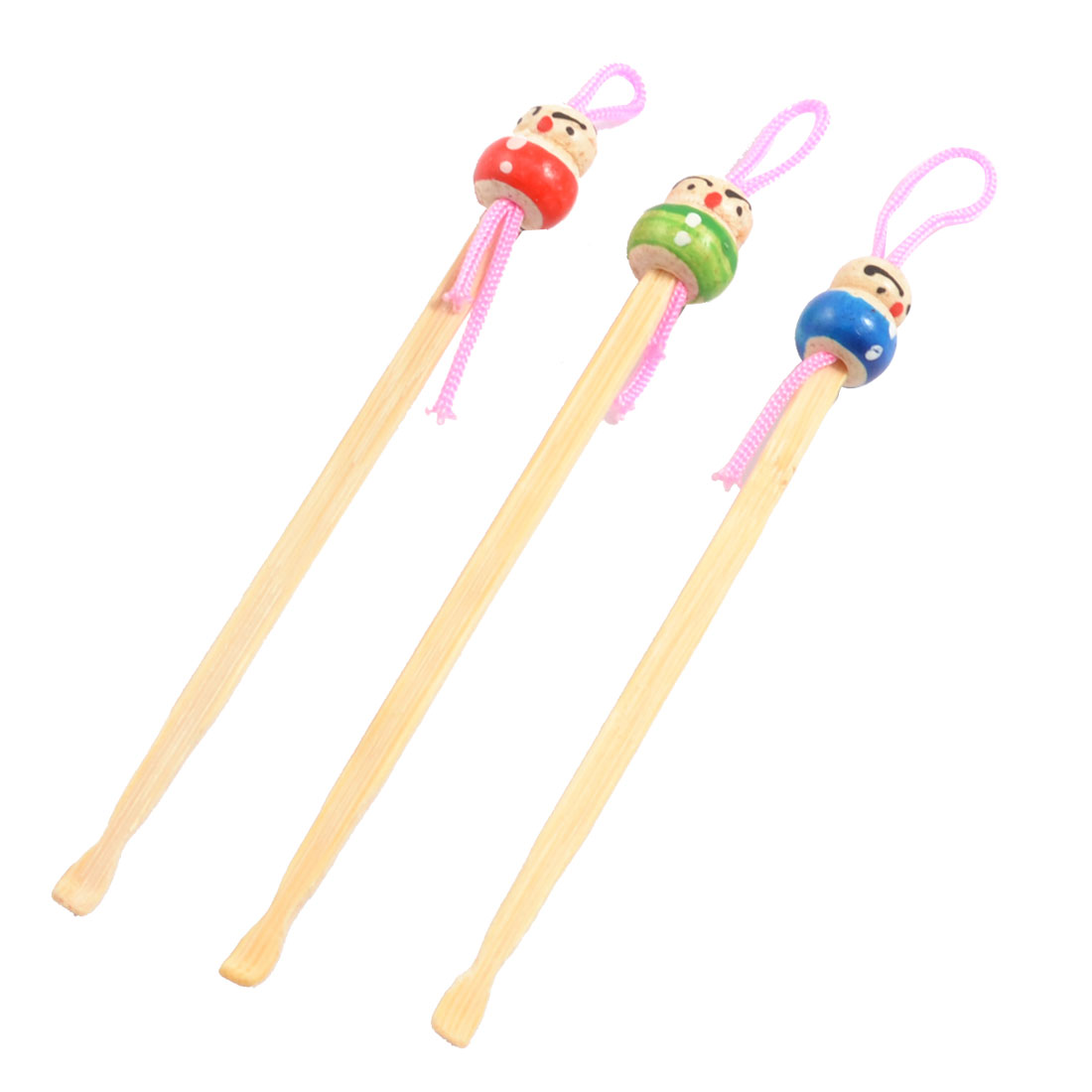 Bamboo Ear Pick Spoon Curette Ear Wax Remover Cartoon Doll Decor 3 Pcs