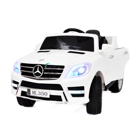 12V powered ride on car Mercedes ML350 toy for Kids with Remote Control LED lights Leather Seat MP3 Opening doors - White](Light Toys For Kids)