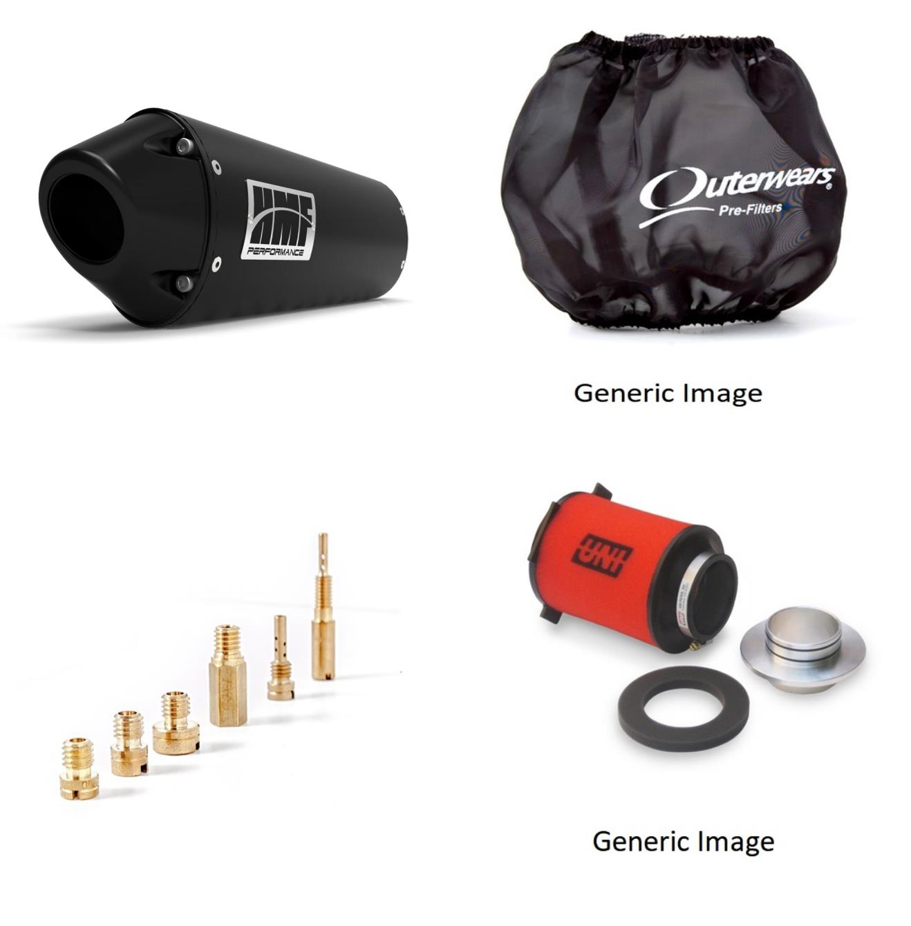 Basic Jet Kit, Pre Filter, Foam Air Filter & Black Performance-Series Slip On Exhaust Euro-Black for Yamaha YFZ 450 2004-2009