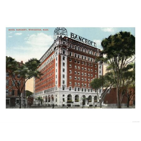 Worcester, Massachusetts - Exterior View of the Hotel Bancroft Print Wall Art By Lantern Press