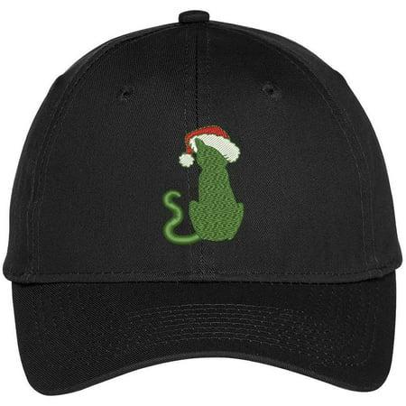 Trendy Apparel Shop Cat With Santa Hat Embroidered Adjustable Baseball Cap - Black - Cat With Santa Hat