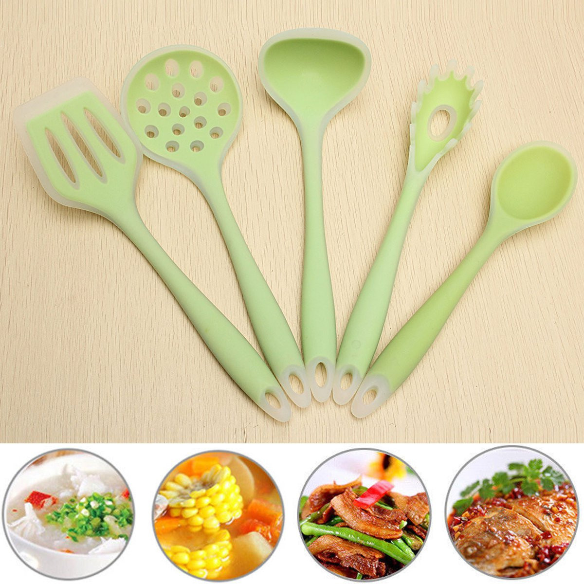 5Pcs Silicone Cooking Utensil Set Set Kitchen Cooking Tools Spoon Spatula Ladle by