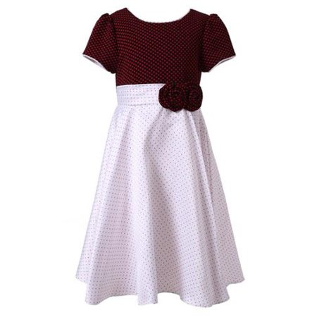 Richie House Girls White Black Pintuck Dotted Bow Polished Dress 5/6 ()