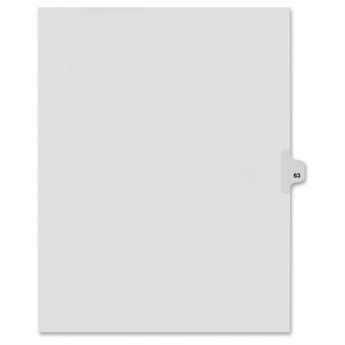 """Kleer-Fax 80000 Series Legal Index Dividers, Side Tab, Printed """"63"""", 25/Pack"""