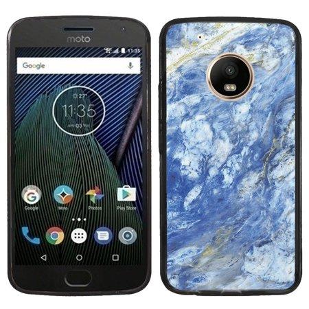 Fit Moto E4, OneToughShield ® Slim-Fit Premium TPU Gel Phone Case (Black Bezel) for Motorola Moto E4 - Marble / Gem Blue