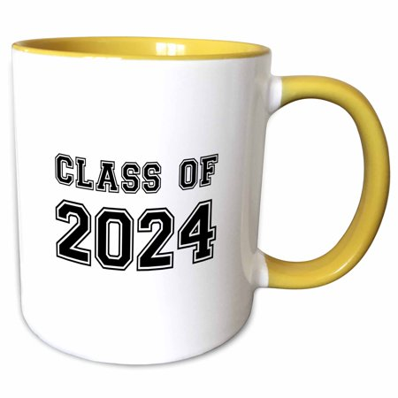 3dRose Class of 2024 - Graduation gift - graduate graduating high school university or college grad black - Two Tone Yellow Mug, 11-ounce - High School Grad Gifts