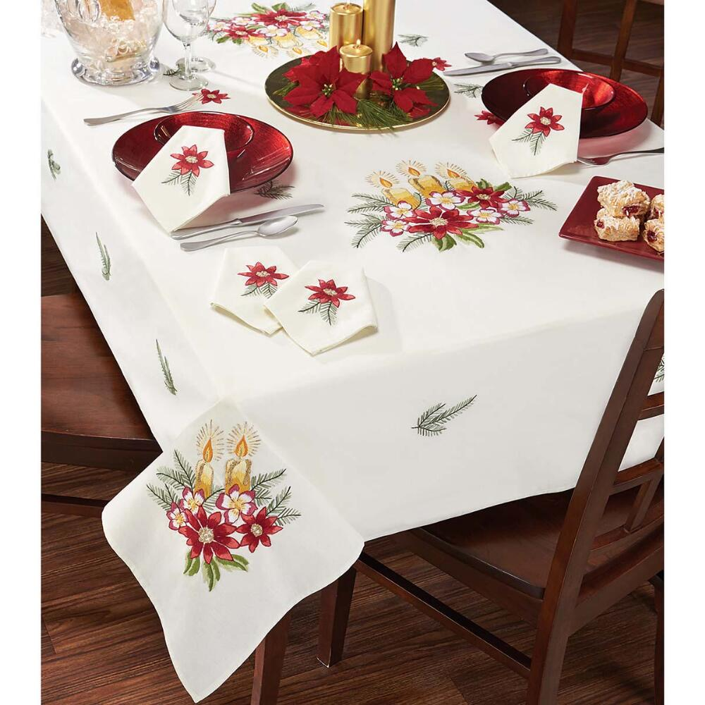 Nob Hill Three Yellow Candles Table Linens Stamped Embroidery