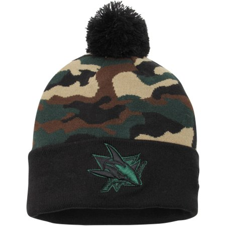San Jose Sharks New Era Camo Top 2 Woodland Knit Beanie - Black/Camo - OSFA for $<!---->