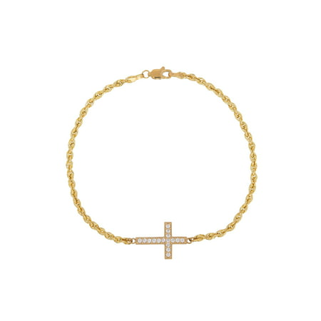 10K Yellow Gold Sideways CZ Cross Bracelet,