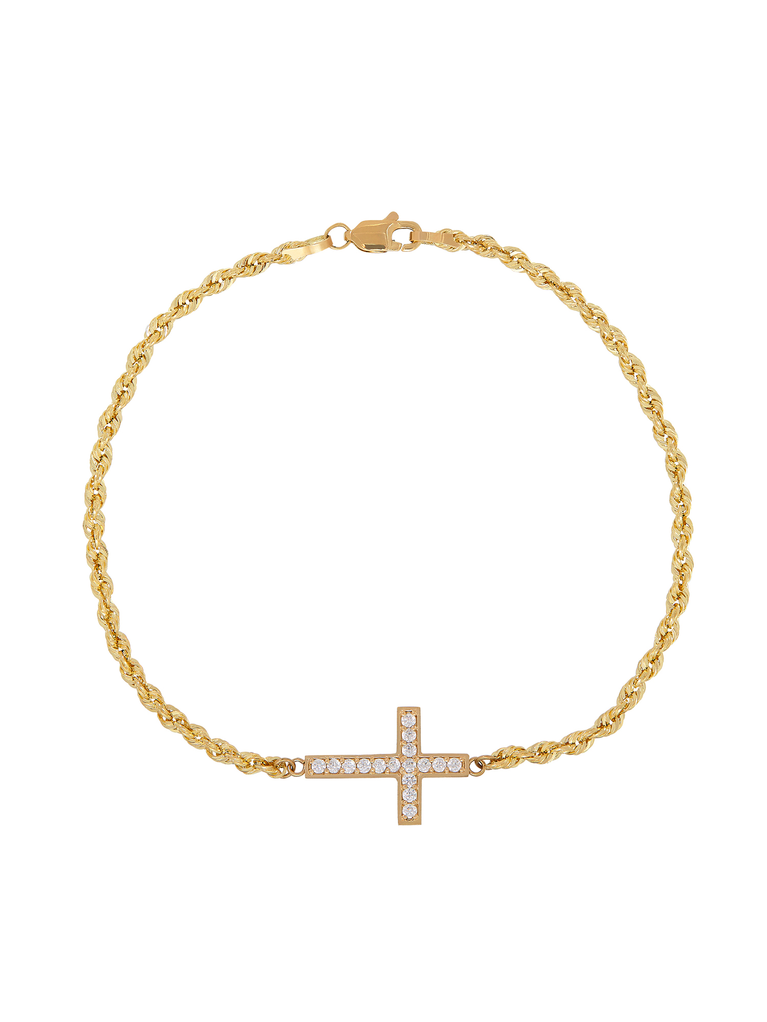 Simply Gold™ 10K Yellow Gold Sideways CZ Cross Bracelet, 7.5""