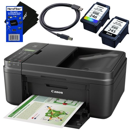 Copy Fax Usb (Canon PIXMA MX492 Wireless Office All-in-One Inkjet Printer (Black) with Print, Copy, Scan, Fax & Cloud Link + Black & Color Cartridges + USB Printer Cable + HeroFiber Ultra Gentle)