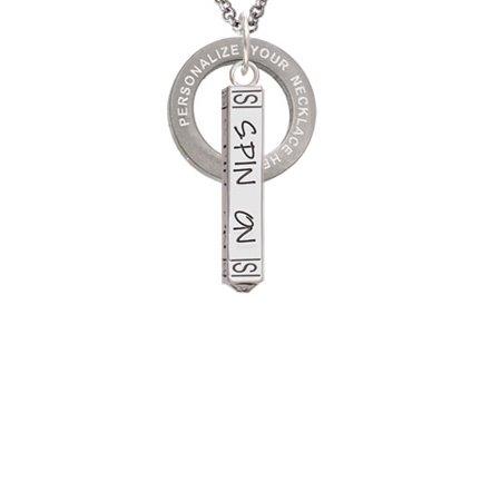 Spin On Bar Custom Engraved Affirmation Ring Necklace
