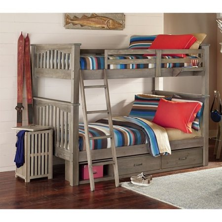 Full Over Full Storage Bunk Bed Driftwood