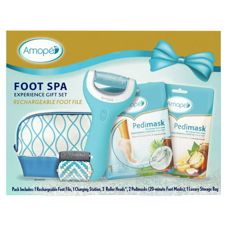Amope Pedi Perfect Foot Spa Experience Kit - Perfect In Home Pedicure Gift - 1 Rechargeable Foot File, 1 Charging Station, 3 Roller Heads, 2 Pedimasks, 1 Storage Bag