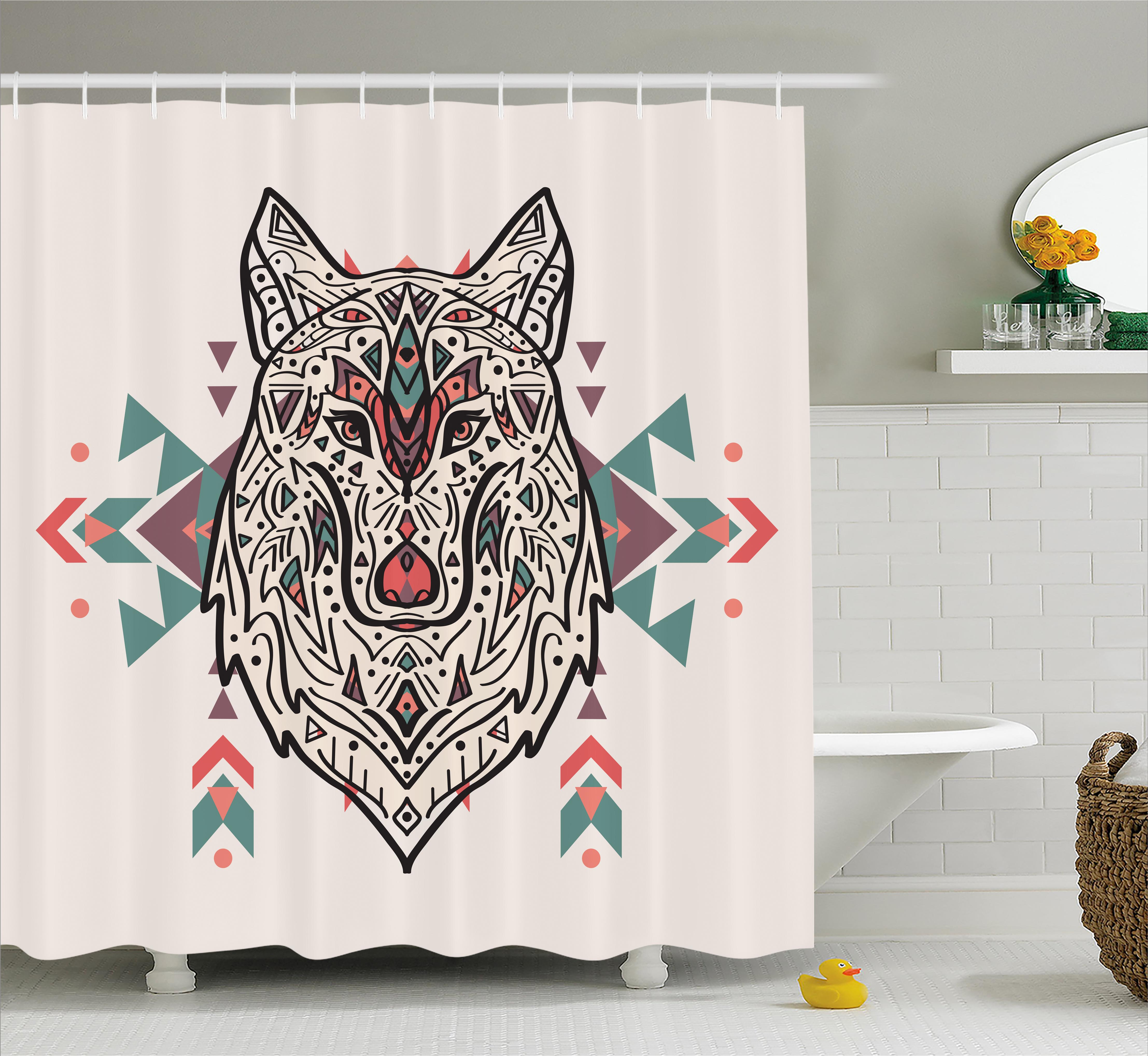 Tribal Shower Curtain, Charming Lion Like Wolf Head With