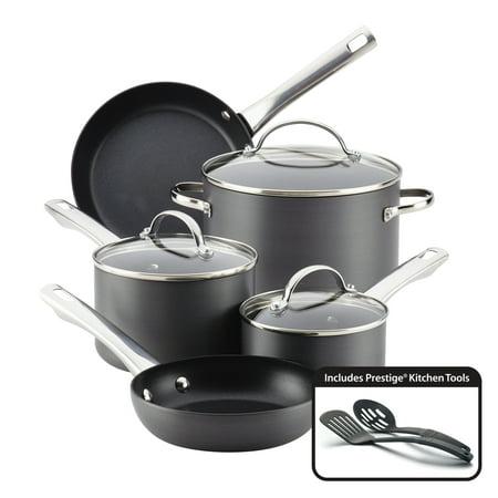 Farberware Hard-Anodized Aluminum Nonstick Cookware Set, 10-Piece, - Rescue 8 Aluminum Anodized
