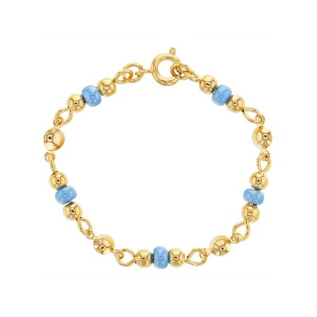 Bead Baby Bracelet - 18k Gold Plated Light Blue Beads Bracelets for Babies 4.5