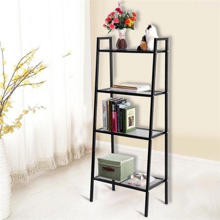 Yosoo Black 4 Tier Ladder Shelf Unit Bookshelf Bookcase Book Storage Display Rack Stand,60*35*145cm/23.6*13.8*57.1