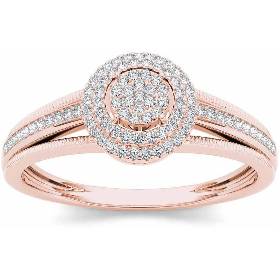 Imperial 1/5 Carat T.W. Diamond Double Halo Cluster 10kt Rose Gold Engagement Ring