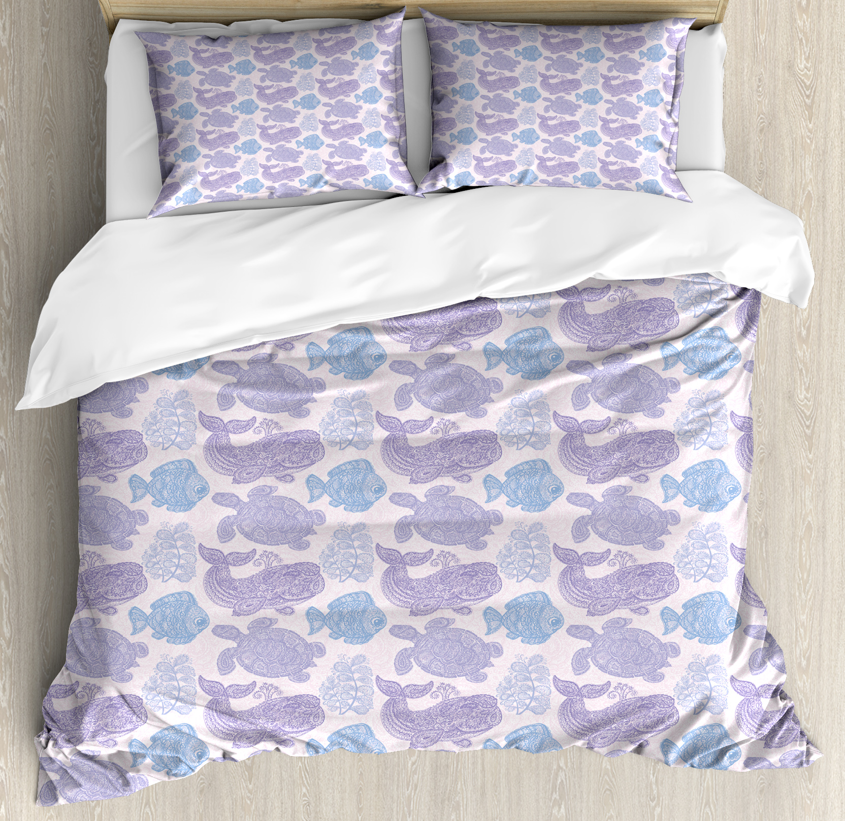 Whale King Size Duvet Cover Set, Sea Turtle Water Plant and Fish in Doodle Style with Paisley Mehndi Motifs, Decorative 3 Piece Bedding Set with 2 Pillow Shams, Purple Pale Pink Blue, by Ambesonne