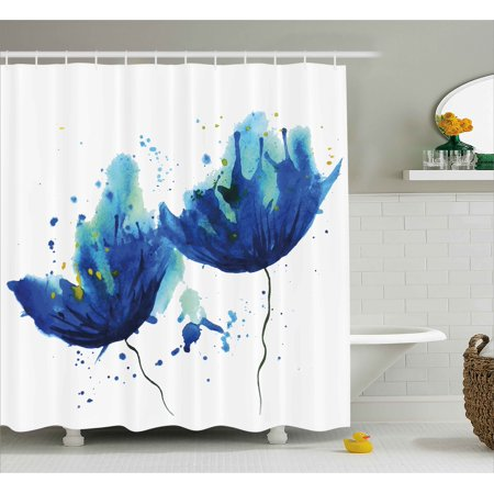 Blue Shower Curtain Watercolor Style Effect Floral Decor Abstract Art Cornflower Illustration Fabric Bathroom