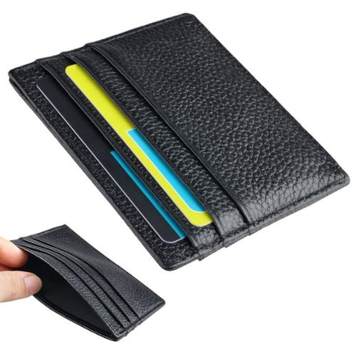 Zodaca Black Genuine Leather Slim Card Holder ID Credit Card Keeper Case (Father's Day Gift for Dad)