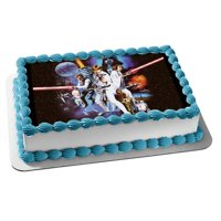 Star Wars Classic Luke Skywalker Chewbaca Princess Leia Darth Vader Light Sabers Edible Cake Topper Image