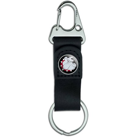 Bulldog Dog Belt Clip On Carabiner Leather Keychain Fabric Key Ring