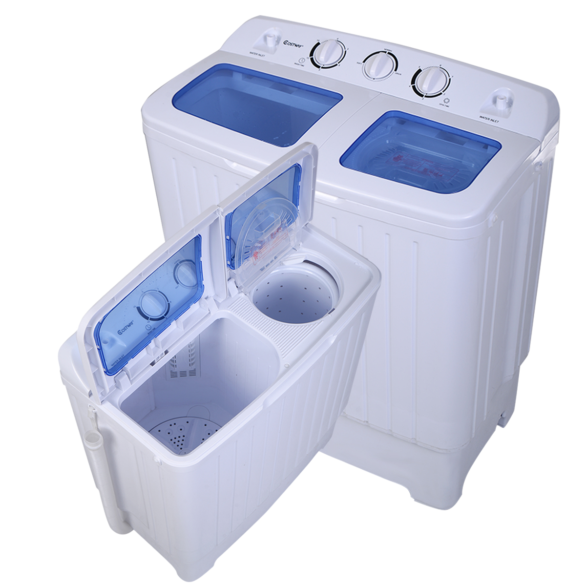 Costway Portable Mini Compact Twin Tub 17.6lb Washing Machine ...