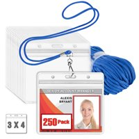 """MIFFLIN Blue Lanyard with 3"""" x 4"""" Clear Horizontal ID Holder, 100 Pack"""