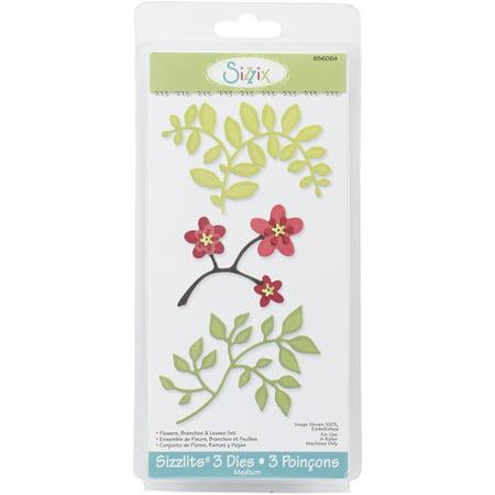 Sizzix Sizzlits Die Set, 3/pkg, Flowers, Branches & - Sizzix Sizzlits Alphabet