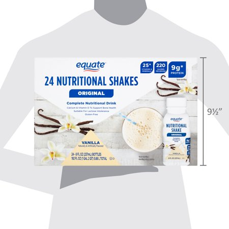 Equate Original Meal Replacement Nutritional Shakes, Vanilla, 8 Fl Oz, 24 Ct