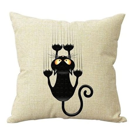 Cat Themed Cotton Linen Throw Pillow Cover 18 Inch - Black/Tan
