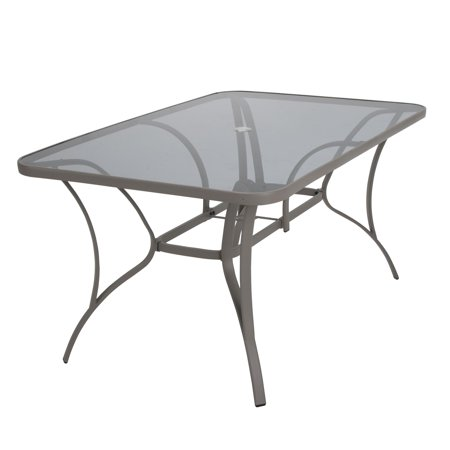 COSCO Outdoor Living Paloma Steel Patio Dining Table, Sand Steel Frame, Tempered Glass Table Top Glass Top Patio Tables