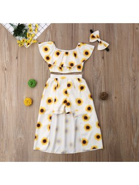 e801e6c74687 Product Image 3Pcs Toddler Kids Baby Girls Sunflower Clothes Off Shoulder  Ruffle Crop Tops Shorts Dress Headband Outfits