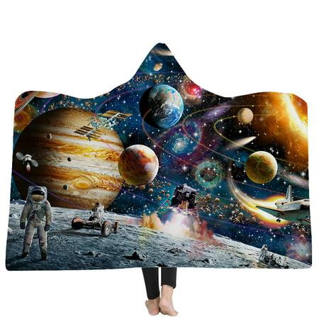 3D Space Print Hooded Blanket Winter Plush Adult Kids Wearable Throw Blanket