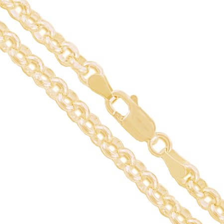 10k Yellow Gold-Hollow Cable Chain Round Rolo Link 3.4mm Necklace (Round Link Cable Chain)