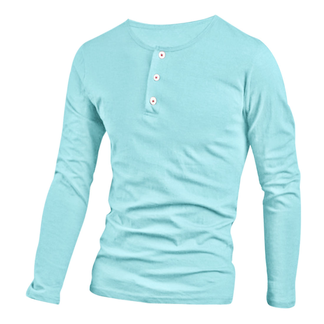 Back to College Gifts and Accessories | Men Cozy Fit Button-Up Pullover Design Henley Shirt Sky Blue M