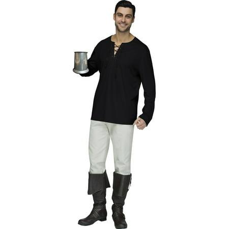 Mens Fancy Tan Renaissance Brown Peasant Pirate Black Shirt Adult Halloween - Renaissance Faire Clothing Men